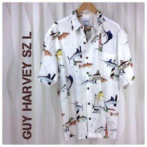 Men's Guy Harvey Hawaiian Shirt L Short Sleeve